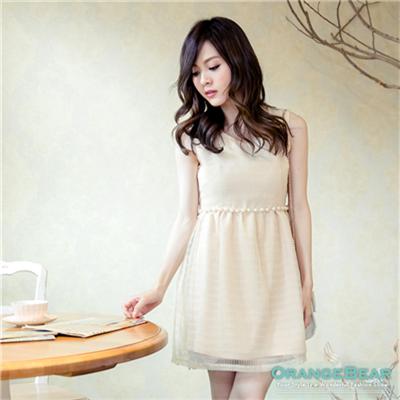 【春夏斷碼♥2件59折】嬌俏淑女~珍珠腰飾網紗層次高腰背心洋裝‧2色