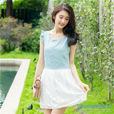 清純甜美~蝴蝶結美背設計蕾絲裙連身洋裝‧3色