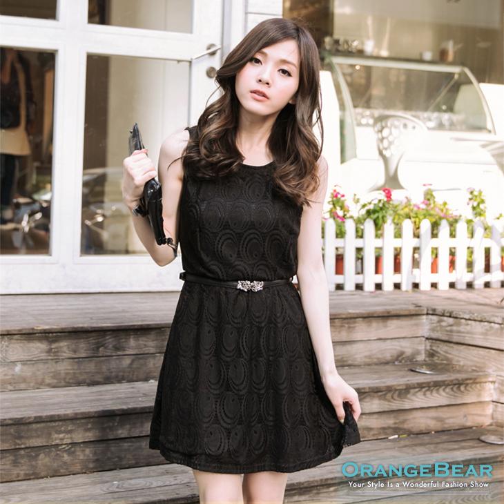 典雅名媛~質感圈圈花紋布蕾絲背心洋裝?2色