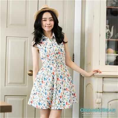 0605新品 清麗脫俗~小碎花/圓點圖案修身無袖襯衫洋裝‧2色