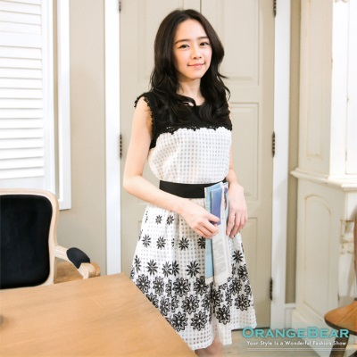 0812新品 高貴淑女~附腰帶韓版蕾絲領花朵格紋洋裝