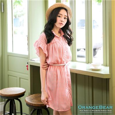 【春夏斷碼♥2件59折】鄰家女孩~小方格紋荷葉邊袖襯衫洋裝‧2色
