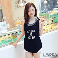 【夏日特賣】韓版造型珠飾燙銀字母背心‧3色