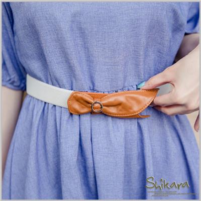 1104新品【特價款】時尚美學~小圓環不對稱蝴蝶結造型鬆緊腰帶‧3色