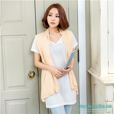 【春氛特賣】V領直條紋垂襟假兩件式長版上衣‧3色