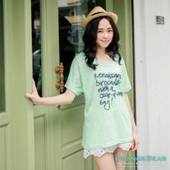 【夏日特賣】 簡單生活~簡約撞色字母兩件式長版上衣‧2色