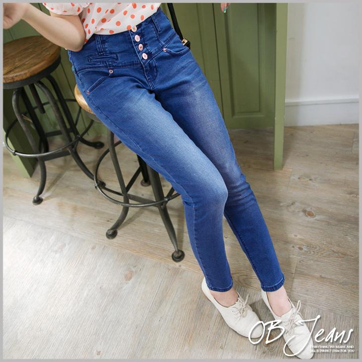 0911新品 美腿曲線~金屬排釦ob 服飾 評價抓痕刷色九分牛仔窄管褲