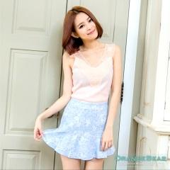 【顯瘦下著♥單件75折】俏麗滿載~玫瑰蕾絲蓬蓬小傘襬短裙‧2色