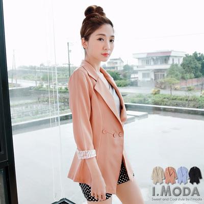 0409新品 時尚OL~反折蕾絲七分袖修身西裝外套‧2色