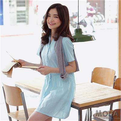 【春光燦爛♥洋裝75折】簡約俐落~V字開襟直條紋襯衫洋裝‧2色