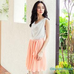 0704新品 淡雅風采~附綁帶無袖雪紡百褶裙洋裝‧2色