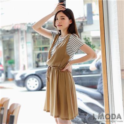 0708新品 休閒好感~橫條紋拼假兩件式雪紡洋裝‧2色