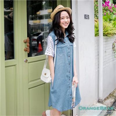 【春夏斷碼♥2件59折】鄰家好感~鏤空花紋袖拼接仿牛仔襯衫洋裝