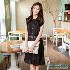 0917新品 輕熟魅力~附腰帶輕薄質感無袖襯衫洋裝‧3色
