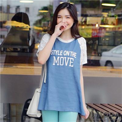 【夏日特賣】蕾絲袖仿牛仔布長版棒球T恤‧2色