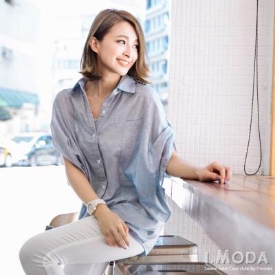 0430新品 率性有型~細橫條紋飛鼠袖長版襯衫‧2色