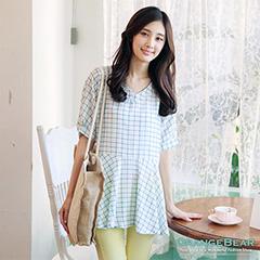 0822新品 甜美清新~小雛菊/格紋V領傘襬長版上衣‧2色