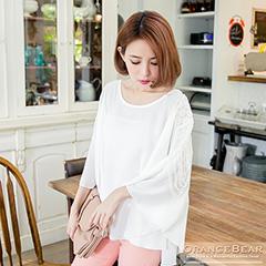 0923新品 唯美典雅~純色雅緻裝飾斗篷式上衣.2色