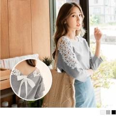 1024新品 淑女風雅~素色後綁帶鏤空緹花連袖上衣.2色