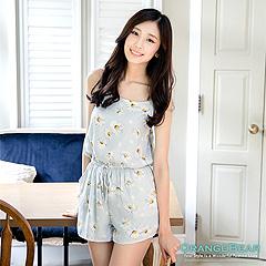 0728新品 清新雅緻~小雛菊印花雪紡連身短褲.2色