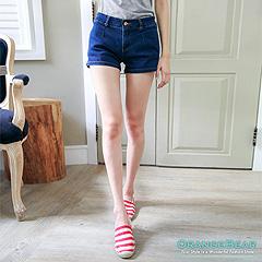 0806新品 翹臀曲線~深藍色顯瘦俐落剪裁牛仔短褲