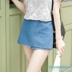 1014新品 清新俏麗~斜襬層次設計剪接牛仔褲裙