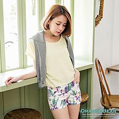 0812新品 度假時光~植物印花歐美style短褲.2色