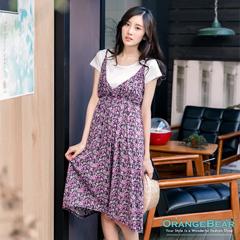 【春光燦爛♥洋裝75折】田園風情~V字美胸小碎花高腰兩件式洋裝‧2色