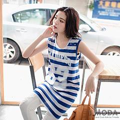 【夏日特賣】大數字橫條紋字母背心洋裝‧2色