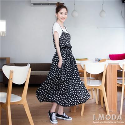 0527新品 高雅格調~優雅印花細肩帶雪紡飄逸洋裝