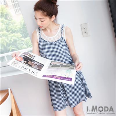 【春夏斷碼♥2件59折】自然風采~蕾絲背心拼格紋假兩件式洋裝‧2色
