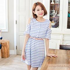0912新品 微甜時光~條紋挖肩設計開襟洋裝.2色