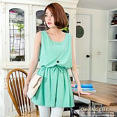 0327新品 清亮節奏~可愛抽繩造型無袖洋裝.2色