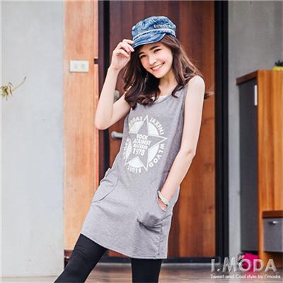 【夏日特賣】美式休閒感燙印圖連帽無袖洋裝.3色