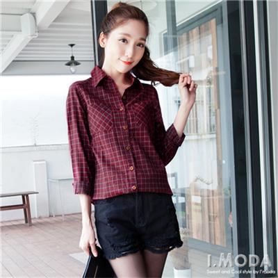 0925新品 格紋熱潮~視覺質感雙色線條方格紋長版襯衫•2色