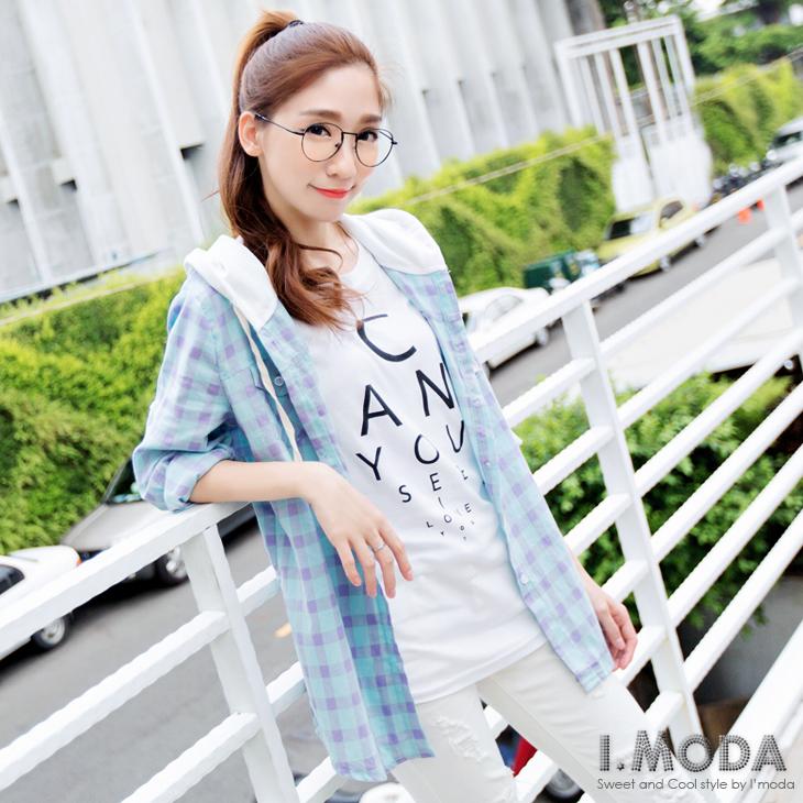 0303新品 自然好感~休ob嚴選 model閒格紋撞色連帽前短後長襯衫/外套.2色