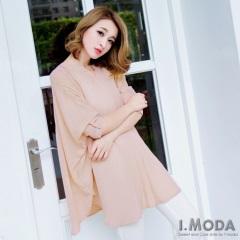 0617新品 知性魅力~雪紡開襟優雅飛鼠袖長版上衣.3色