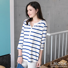 1002新品 微風自然~條紋開襟弧形下襬長版上衣.2色