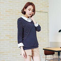 0905新品 知性層次~假兩件式襯衫造型條紋上衣.2色