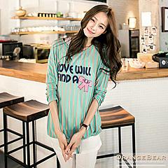 1024新品 甜心質感~兩件式英文蝴蝶結燙印撞色條紋長版上衣.2色