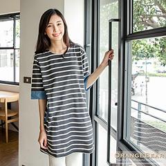 0128新品 自然微甜~質感條紋拼接牛仔布長版上衣/洋裝.3色