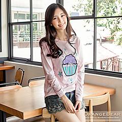 0901新品 可愛氣息~星星杯子蛋糕金蔥燙印蝴蝶結裝飾T恤.3色