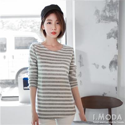 1021新品 懷舊風情~橫條紋混色毛料設計長袖上衣.3色