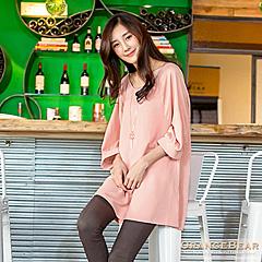 1024新品 甜美俏麗~雙材質拼接澎澎插肩袖長版上衣.2色