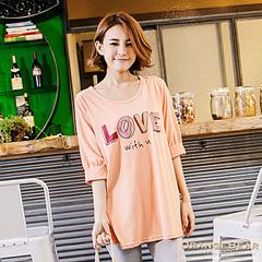 1024新品 甜蜜氛圍~Love甜甜圈燙印澎澎袖長版上衣.3色
