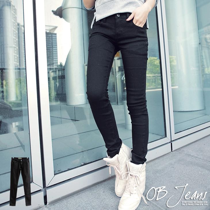 ob窄管褲0427新品 時尚魅力顯瘦款黑色嚴選牛仔窄管褲