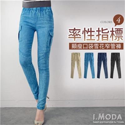 【顯瘦下著♥任選65折】帥勁美型~顯瘦造型感口袋雪花單寧窄管褲.4色