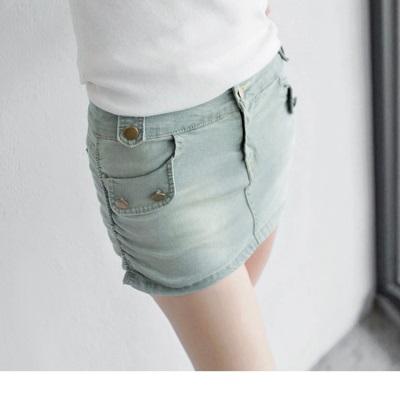 0603新品 嚴選釦飾淺刷色彈性牛仔褲裙