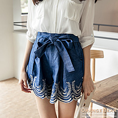 經典淑女~蝴蝶結皮革假腰帶千鳥格紋毛呢短褲‧3色