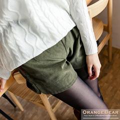 1024新品 可愛恬靜~高質感燈心絨抽繩短褲.3色